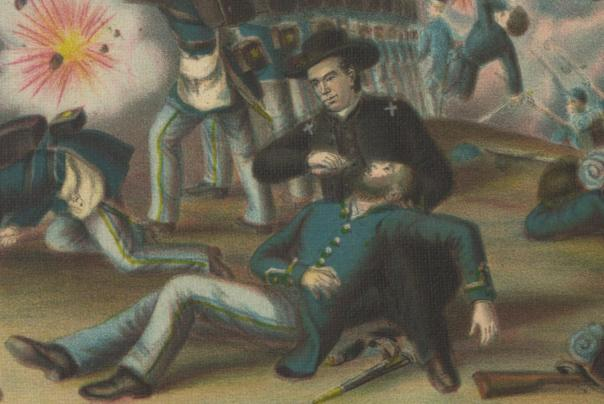 Chaplain Peter P. Cooney at the Battle of Stones River, January 1863.