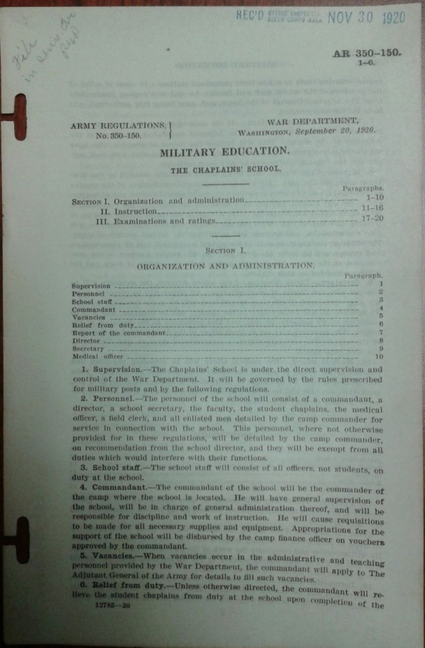 AR 350-150, Military Education, The Chaplains' School, 20 September 1920