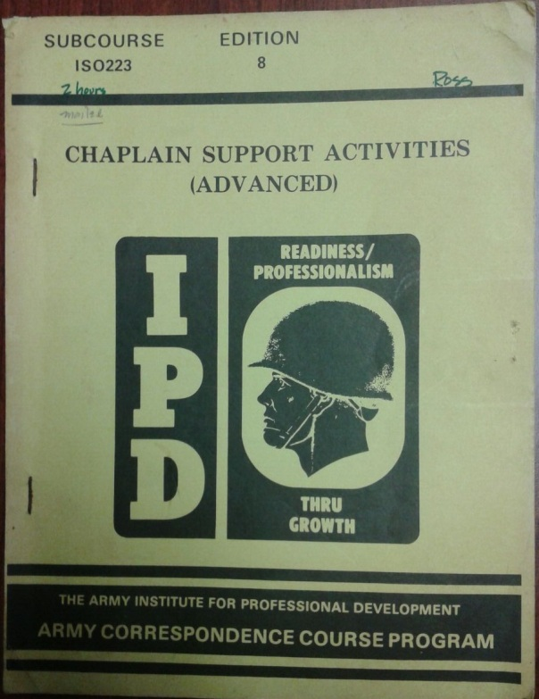 ST 16-100-2, Army Correspondence Course Program Chaplain Support Activities -Advanced- Subcourse ISO 223, January 1978