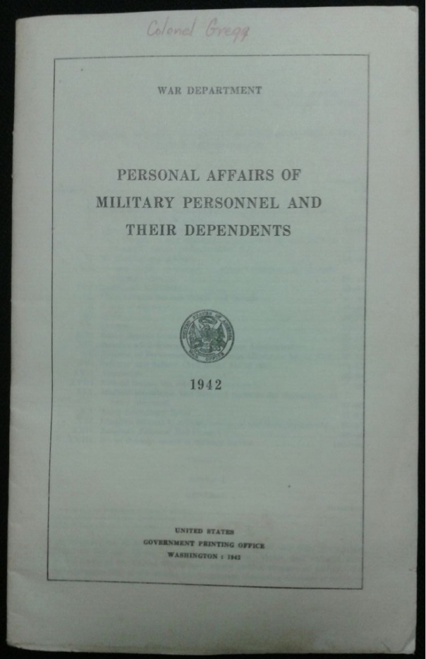 Personal Affairs of Military Personnel and Their Dependents, 1942