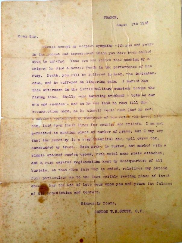 WW1 Condolence Letter