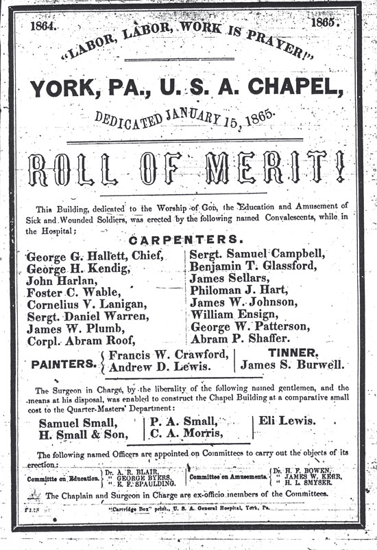 York Civil War Hospital Chapel Handbill