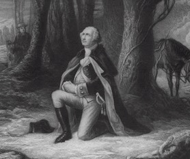General George Washington praying at Valley Forge
