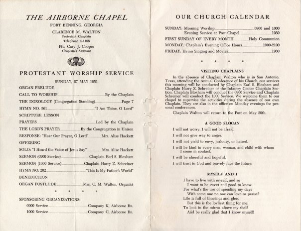 Fort Benning Worship Bulletin 1951