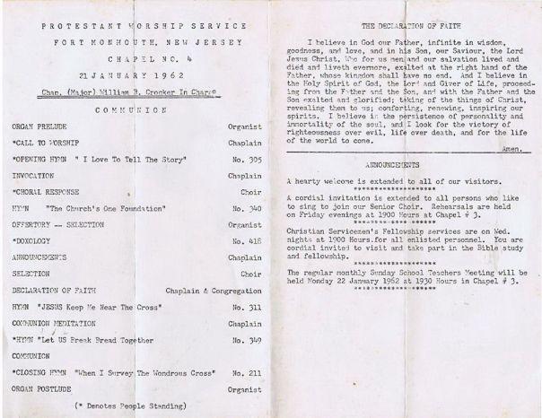 Ft. Monmouth worship bulletin 1962
