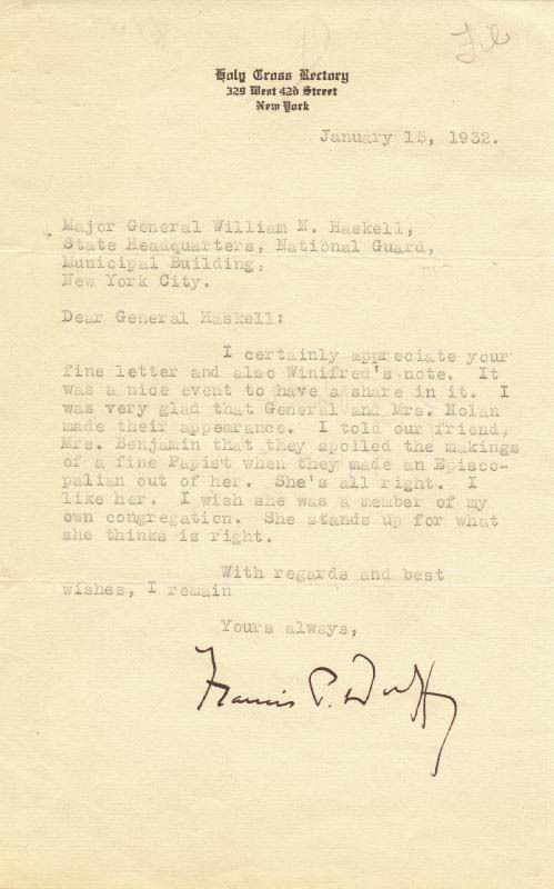 Chaplain Francis Duffy letter 1932