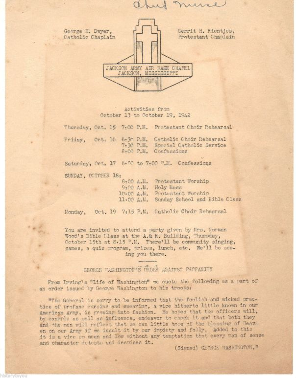 Jackson Army Air Base Worship Schedule