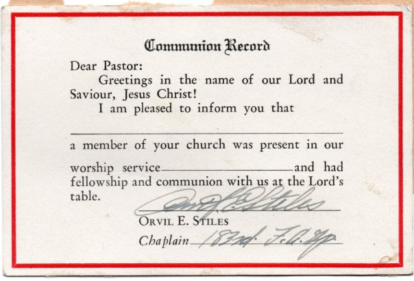 Communion Record WW2