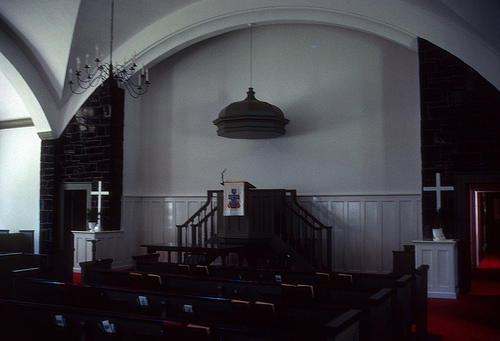 Interior view of the Old Stone Church at Fort Defiance as it appears today.