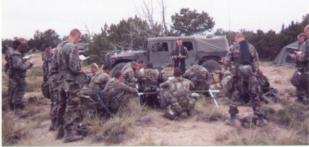 Chaplalin Jeffrey Spangler With 5th Engineer Battalion training at Pinon Canyon Colorado 1999
